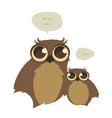 cute two owls and speech balloons on white vector image vector image
