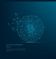 digitally drawn blue bit coin vector image vector image