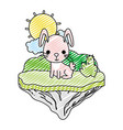 doodle female rabbit seated in the float island vector image vector image