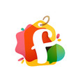 f letter logo with sale tag icon watercolor vector image vector image