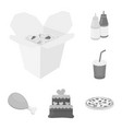 fast food monochrome icons in set collection for vector image