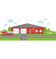fire station emergency concept panoramic vector image vector image