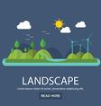 flat design nature landscape with sun hills vector image vector image