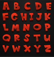font design for english alphabets in red vector image