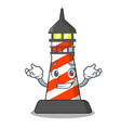 grinning cartoon realistic red lighthouse building vector image