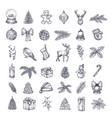 hand drawn christmas icons bundle a collection vector image