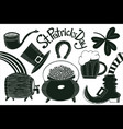 hand drawn st patricks day set leprechaun hat vector image
