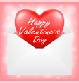 happy valentine day with red heart in envelope vector image vector image