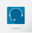 Headphone square icon of support with long shadow