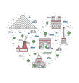 i love paris poster in linear style vector image vector image