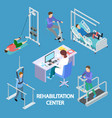 isometric physiotherapist and rehabilitation vector image vector image