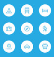 journey outline icons set collection of tram vector image vector image