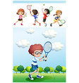 Kids playing tennis in park vector image