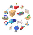 logistics cartoon icons vector image