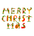 Merry Christmas lettering with elves vector image vector image