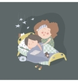 Mom kisses daughter at bedtime vector image