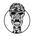 mummy only skull head out round vector image vector image