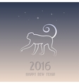 new year card with a monkey - symbol 2016 vector image vector image