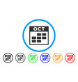 october calendar grid rounded icon vector image vector image