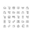 online shopping outline icon set and vector image vector image