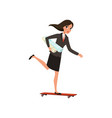 Pretty business woman riding skateboard with vector image