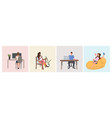 set mix race people sitting on armchair men women vector image