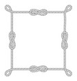 square rope frame with knots and loops vector image vector image