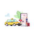 tiny male customer character order taxi via vector image