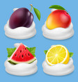 whipped cream with fruits icon set vector image vector image