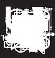 white silhouette complex fantastic machine vector image vector image