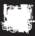 white silhouette of the complex fantastic machine vector image vector image
