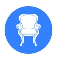 Wing-back chair icon in black style isolated on vector image vector image