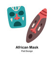 african masks flat icon vector image