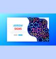 arrow signs neon landing page vector image vector image