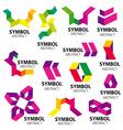 big set of logos of geometric modules vector image vector image