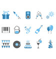 blue celebrating holiday party icons set vector image vector image
