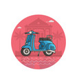 blue scooter seaside icon in line art vector image vector image