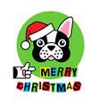 bulldog in christmas hat merry christmas greeting vector image vector image