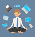 business man office meditation relax with office vector image vector image