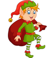Cartoon cute elf with sack vector image vector image