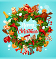 christmas wreath greeting poster of winter holiday vector image vector image