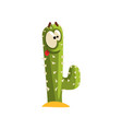 creen cactus character with big eye succulent vector image vector image