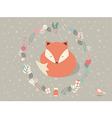 Cute sleepy Christmas fox floral decoration vector image