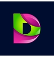 D letter green and pink logo design template vector image