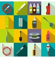 Electronic cigarettes icons set flat style vector image vector image