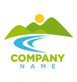 emblem with place for company name and landscape vector image vector image