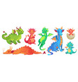 fairy dragons funny fairytale dragon cute magic vector image