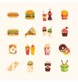 Fast Food Cafe Menu Icons Set vector image vector image