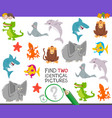 find two identical animals task for children vector image vector image