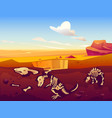 fossil dinosaurs excavation in sand desert vector image vector image